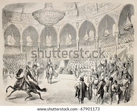 Antique illustration shows military festival in Lyon, France. Original engraving, from a drawing of Worms after sketch of Steyert, was published on L'Illustration, Journal Universel, Paris, 1860 - stock photo