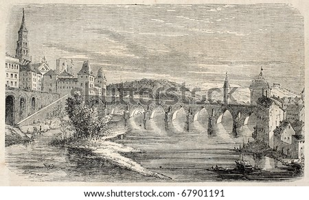 Antique illustration shows Montauban, on the Tarn river, in southern France. Original, from drawing of Forest, was published on L'Illustration, Journal Universel, Paris, 1860
