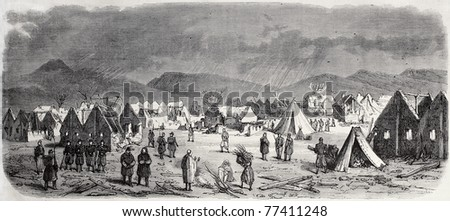 Antique illustration shows the small village of Sebdou, near Oran, Algeria, damaged by an hurrycane. By Cosson-Smeeton, published on L'Illustration, Journal Universel, Paris, 1868
