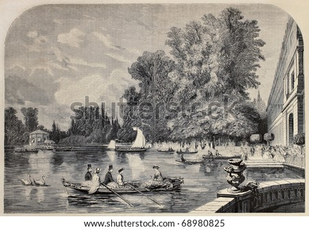 Antique illustrations of Fontainebleau basin and castle. Original, from drawing Anastasi, after sketch of Moullin, was published on L'Illustration, Journal Universel, Paris, 1860 - stock photo