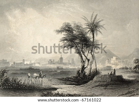 Antique illustrations of Palermo surroundings, Italy. Original engraving created by J. Muller and A. H. Payne in 1840 ca - stock photo
