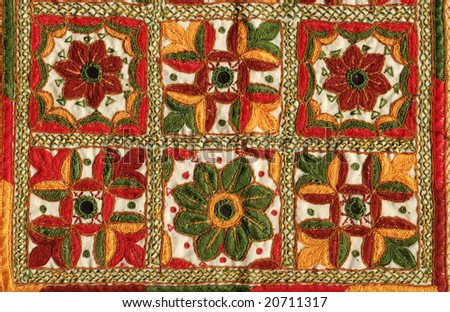 antique indian stitched fabric pattern - stock photo