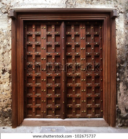 Antique Indian Style Wooden Door Stock Photo 102675737 - Shutterstock