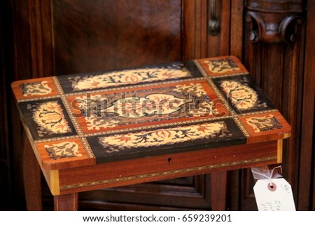 Antique Italian Wood Inlay Table In Front Of Vintage Mahogany Side Board  Buffet With Carved Wooden