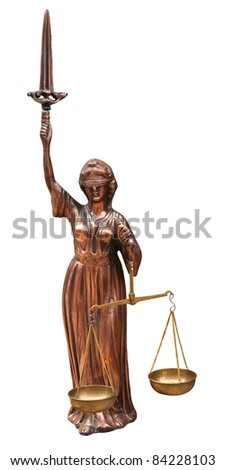 Antique justice statue isolated on white. Clipping path included. - stock photo