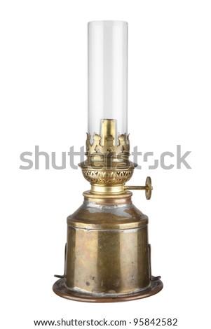 antique kerosene lamp with a glass bulb - stock photo