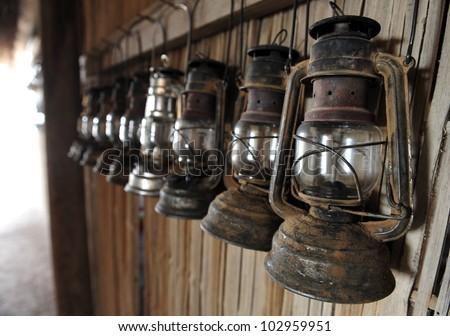 Antique Kerosene Lamps. - stock photo