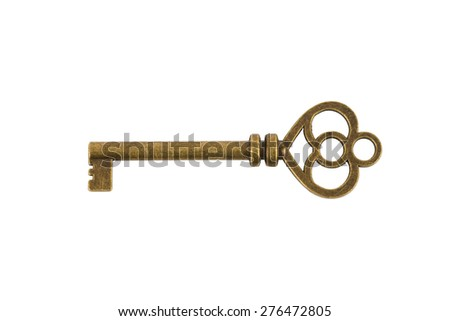 Antique key on white background - stock photo
