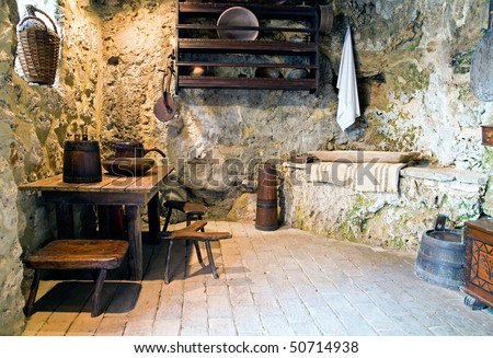 Antique kitchen interior - stock photo