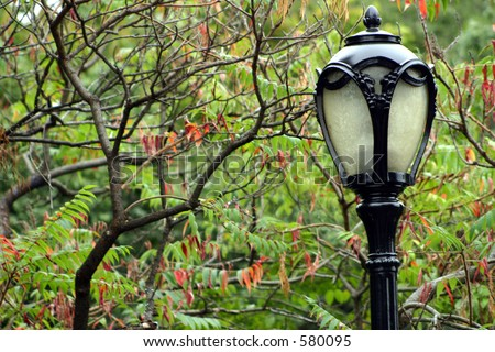 Antique Lamp in Fall - stock photo
