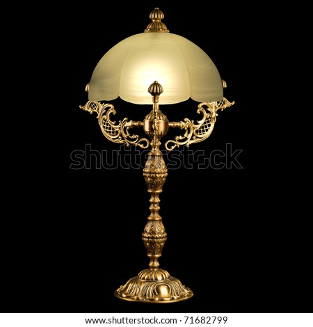 Antique lamp isolated - stock photo