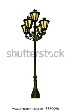 Antique lamp post isolated on the white