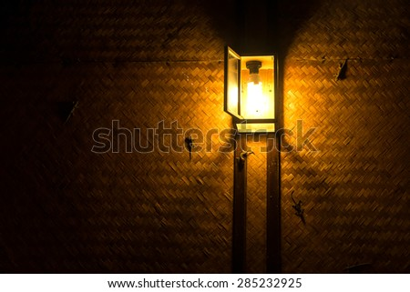 Antique lamps at night , wooden lamps