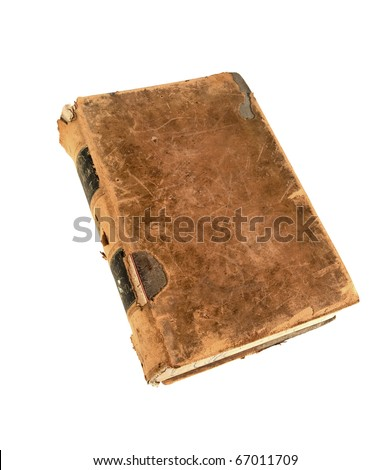 Antique leather bound 19th century reference encyclopedia with clipping path - stock photo