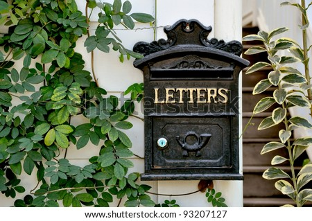 antique letter box - stock photo