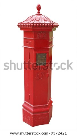 Antique Letterbox from Christchurch New Zealand Isolated with clipping path