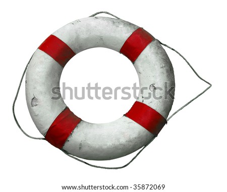 Antique Life Buoy isolated with clipping path - stock photo