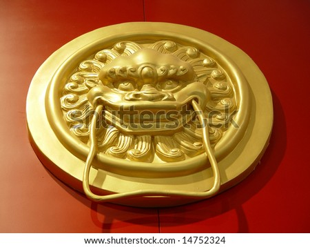 Antique lion head door knob - stock photo