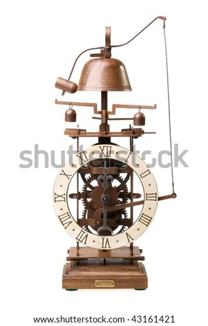 Antique looking clock dial showing time about twelve - stock photo