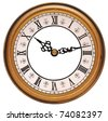 Antique looking clock face on white - stock photo