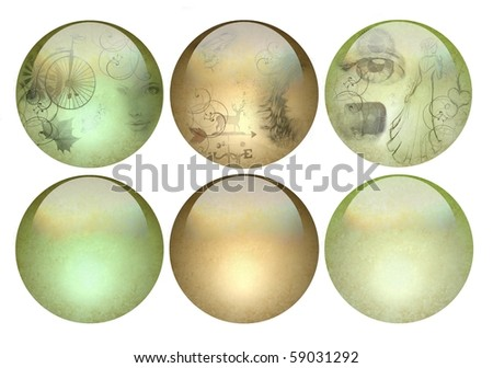 Antique looking elegant glossy buttons - stock photo