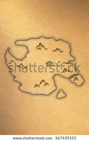 Antique-looking map of an island on yellow paper - stock photo