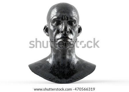 Antique man bust made of metal isolated on white background 3d rendering