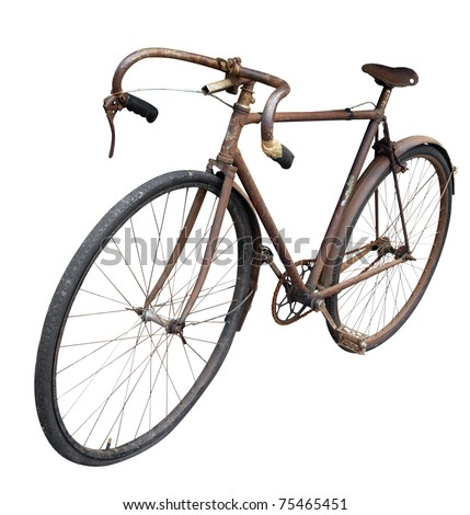 Antique Man's Bike isolated with clipping path - stock photo