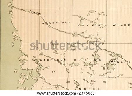Antique map detail - stock photo