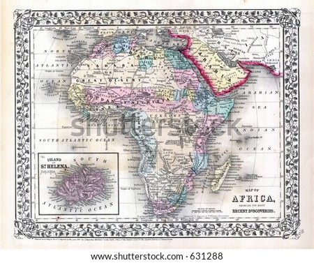 Antique Map of Africa in 1870 - stock photo