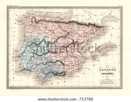 Antique Map of Ancient Spain and Portugal