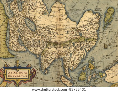 Antique Map of Asia,  Antique map by Ortelius, circa 1570 - stock photo