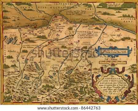 Antique Map of Bavaria, Germany  by Abraham Ortelius, circa 1570 - stock photo
