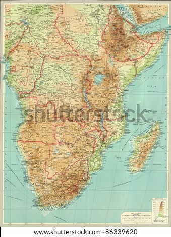 Antique map of Central & Souther.  Africa.From Atlas by Bartholomew and Son, 1922. - stock photo