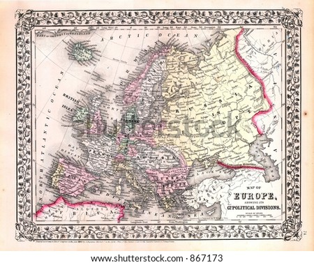 Antique 1870 Map of Europe - stock photo