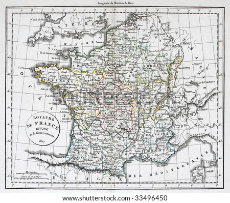 Antique map of France, line colored, dated 1827. - stock photo