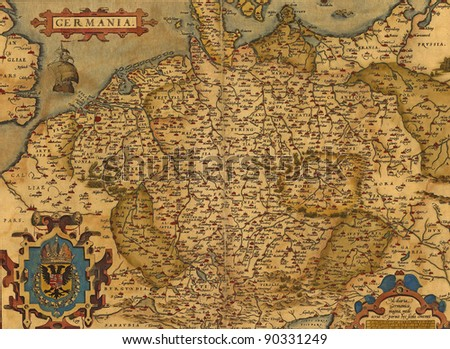 Antique Map of Germany by Abraham Ortelius, circa 1570 - stock photo