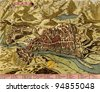 Antique map of Ivrea, Italy  from the Atlas of fortifications and battles, by Anna Beek and Gaspar Baillieu  Originally published in 17th century. - stock photo