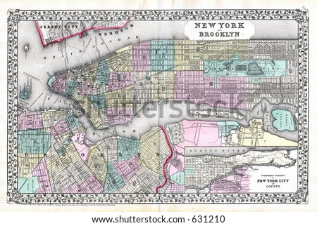 Antique Map of New York City and Brooklyn in 1870 - stock photo