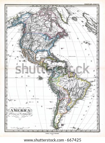 Antique Map of North and South America 1870 - stock photo