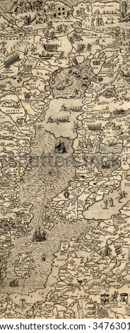 Antique map of Northen Sea (1572, fragment_2)