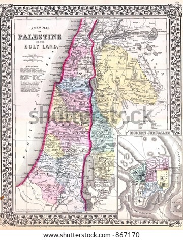 Antique 1870 Map of Palestine Israel Jerusalem - stock photo