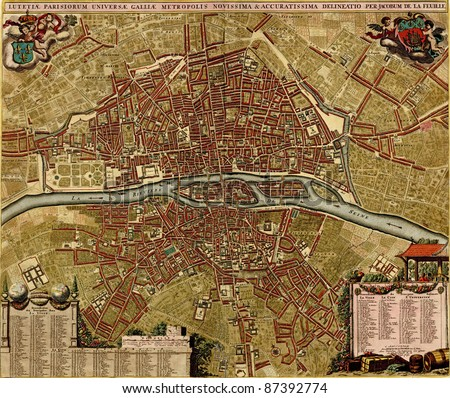 Antique map of Paris.  Atlas of fortifications and battles, by Anna Beek and Gaspar Baillieu  Originally published in 17th century. - stock photo