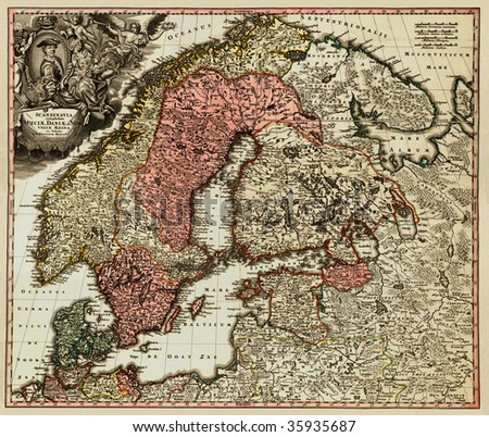 Antique map of Scandinavian (18 centuries, Latin language). - stock photo