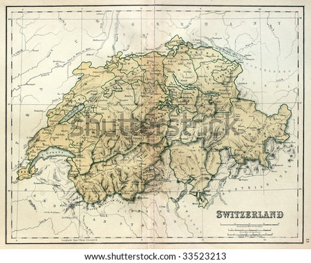 Antique map of Switzerland, line colored, dated 1850. - stock photo