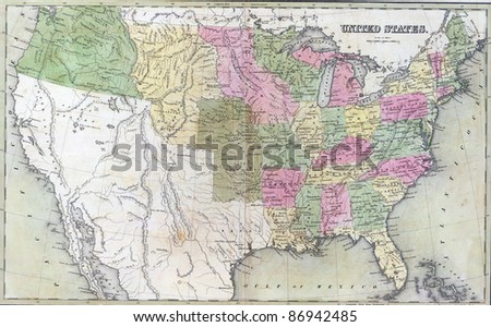 Antique map of United States  from the out of print 1841 Goodrich atlas - stock photo
