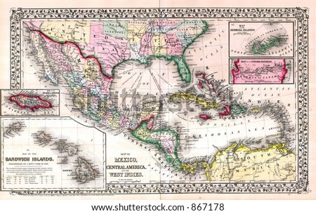 Antique 1870 Map of West Indies Caribbean - stock photo