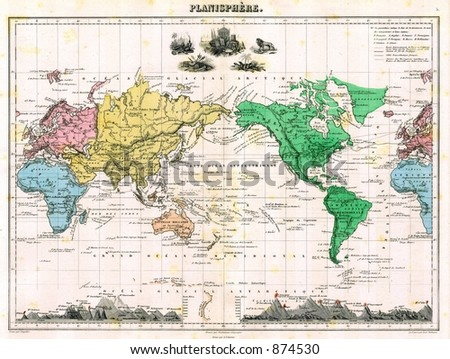 Antique 1875 Map of World - stock photo