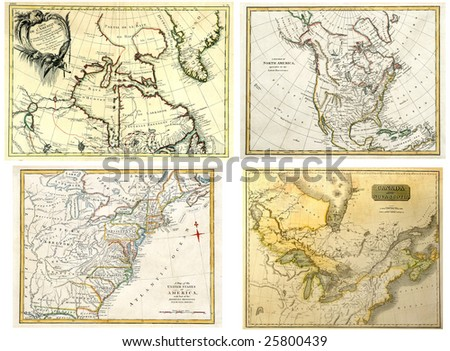 Antique Maps of North America dated 1771-1808. - stock photo