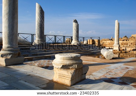 antique marble pillars in caesarea